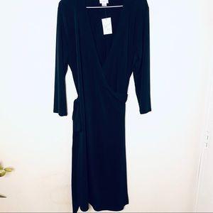 Jaclyn Smith XL black wrap stretch dress NWT